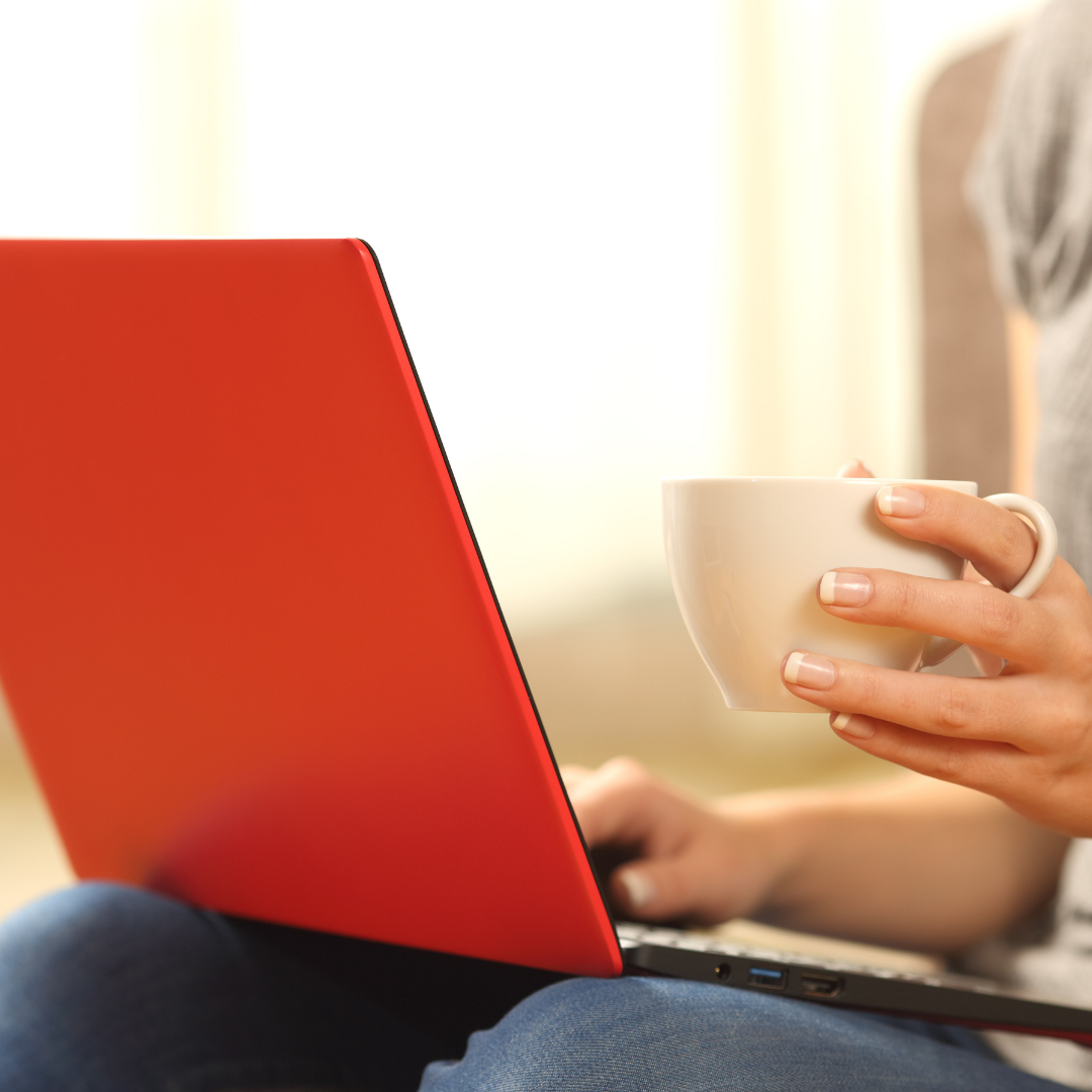 a woman meeting with her virtual coach with a cup of tea